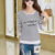 Lace girl otoño mujeres rayas de algodón tops de manga larga de otoño mujeres Camisetas 2017 Nuevas Camisetas Mujer camiseta Ocasional de Las Mujeres camisetas