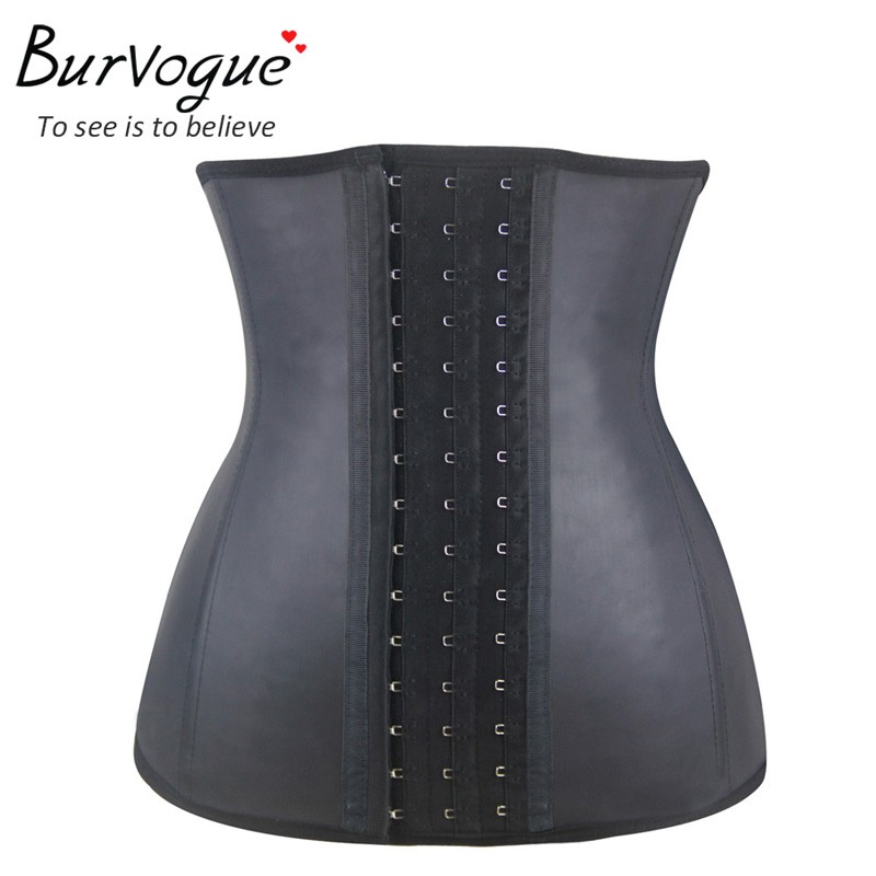 Burvogue Women Latex Corset Waist Control Corset and Bustier Steel Bone Underbust Waist Trainer Corset Slimming