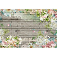 Laeacco Photo Backdrops Gray Brick Wall Flowers Watercolor Pattern Party Scenic Photographic Backgrounds Studio