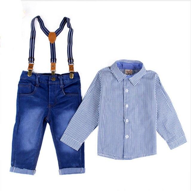 Джентльмен партия мальчик комплект одежды Осень мода с длинным рукавом полоса рубашка + ремень джинсы брюки детская одежда костюмы формальные freeship