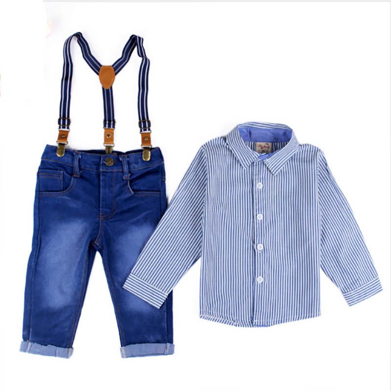 Gentleman party baby boy clothing set Autumn fashion long sleeve strip shirt+strap jeans pants kid clothes suits formal freeship infant clothes set baby boy clothes white long sleeve shirt gray vest pant 2pcs set new born baby boy clothing set baby suits