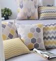 Amarelo cinza geométrica travesseiros/almofadas geométrica nórdico moderno xadrez decorativo capa de almofada home decor almofadas para sofás