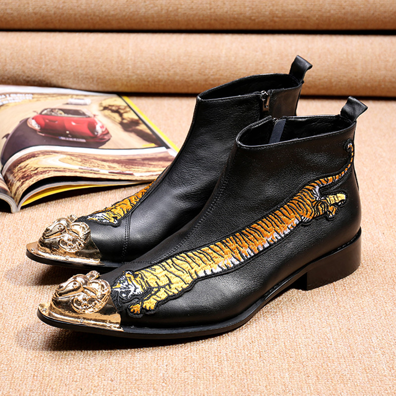 Christia Bella Fashion Men Ankle Boots High Quality Genuine Leather Men Boots Winter Booties Tiger Embroidery Mens Dress Boots