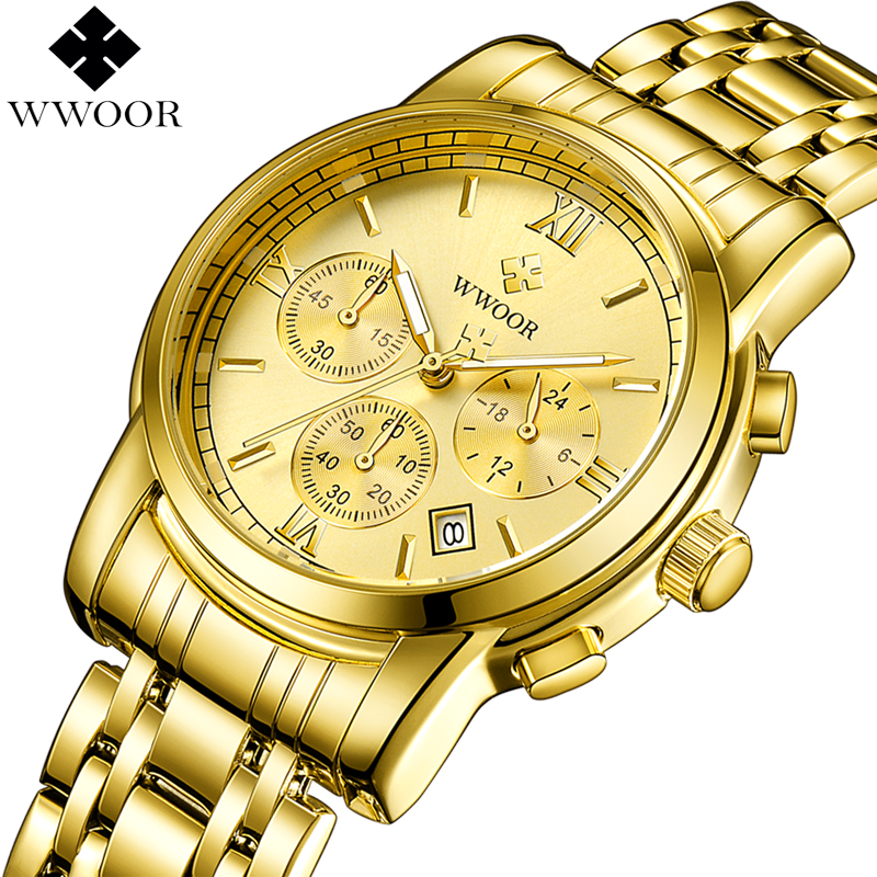 New WWOOR Gold Men Watches Waterproof Sport Quartz Watch Men Top Brand Luxury Stainless Steel Watch Male Clock Relogio Masculino ochstin luxury lover s watches waterproof luxury brand stainless steel quartz watch relogio masculino clock gold male wristwatch