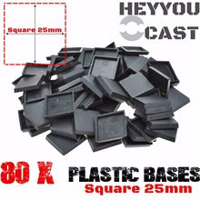 Lot of 80 25mm Square Bases for Miniatures and wargame model bases NEW(China)