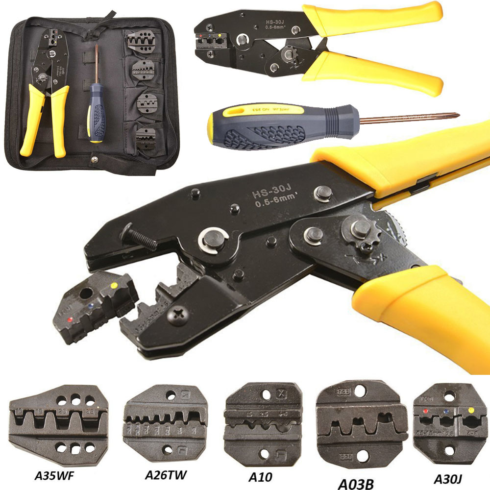 Pro 5 in 1 Professional Wire Crimper Pliers Ratcheting Set Kit With 5 Dies