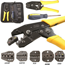 Crimping Hand Tool w/ Die Kit Electrician Crimper Wire Cable Ratchet Crimp Set