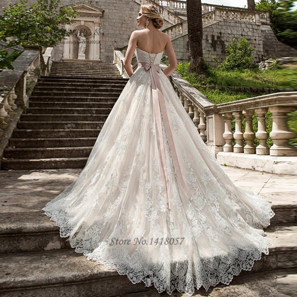 Nice Castle Princess Wedding Dresses Lace Wedding Gowns Ball Gown Pink Sash  Vintage Bride Dress 2017 Vestidos De Noiva Plus Size Boda In Wedding Dresses  From ...