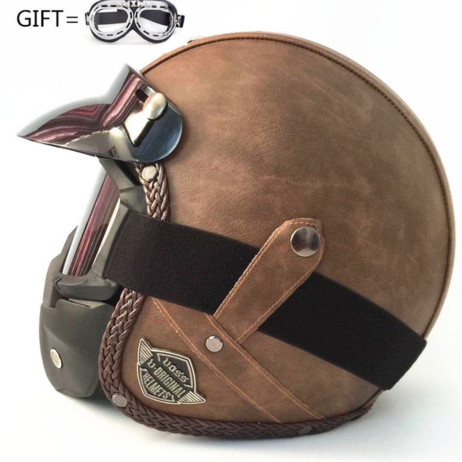 free shipping Open Face Half Leather Helmet Moto Motorcycle Helmets vintage Motorbike Headguard Casque Casco For Harley helmet все цены
