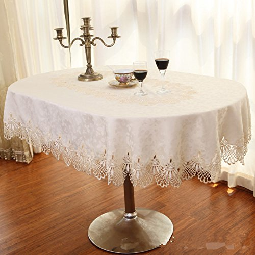 Luxury Lace Oval Tablecloth Off White Wedding Table Cloth For Dinning Table  Jacquard Floral Table