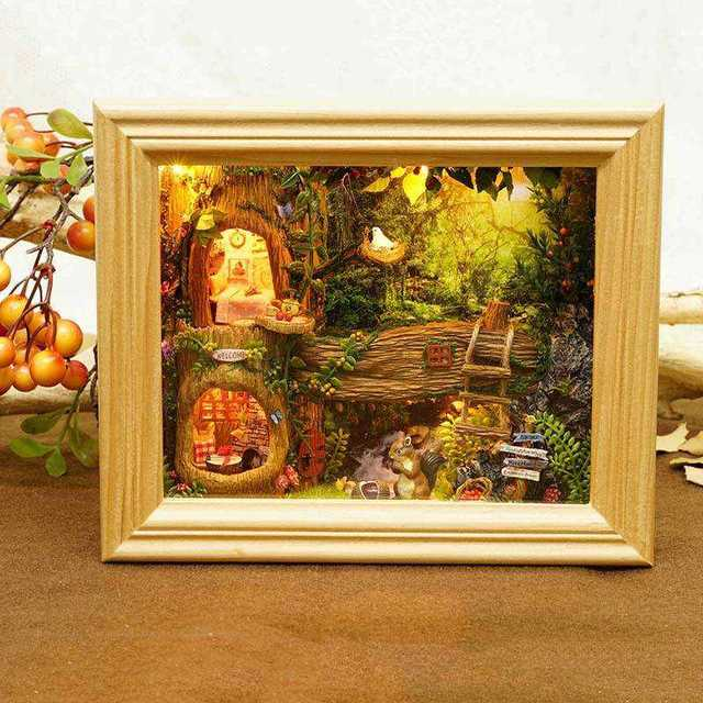 DIY Miniatura Wooden Handmade Dollhouse Kit Photo Frame Design Decoration Collection Best Gift Toys For Children Girls