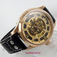 Мм 45 мм Parnis полый циферблат сапфировое стекло заклёпки кожа золотой чехол светящиеся знаки Miyota автоматические механические для мужчин часы