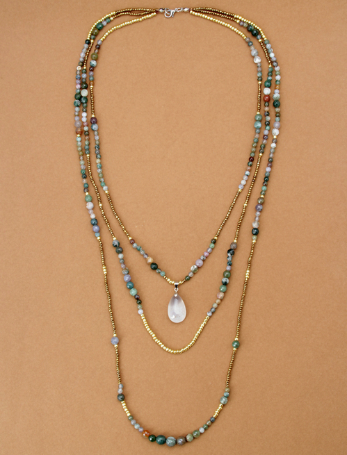 New Natural India Onyx with Seed Beads Teardop Pendant 3 ...