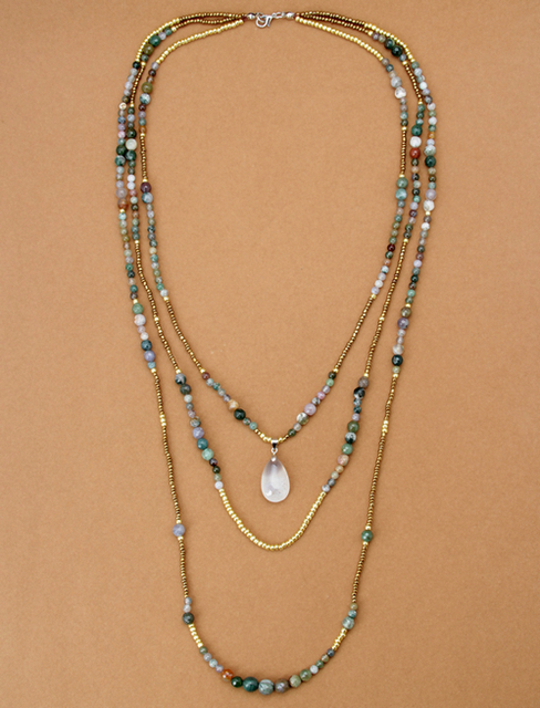 New Natural India Onyx with Seed Beads Teardop Pendant 3 Layered Necklace Bohemia Beaded Statement Necklaces Dropshipping