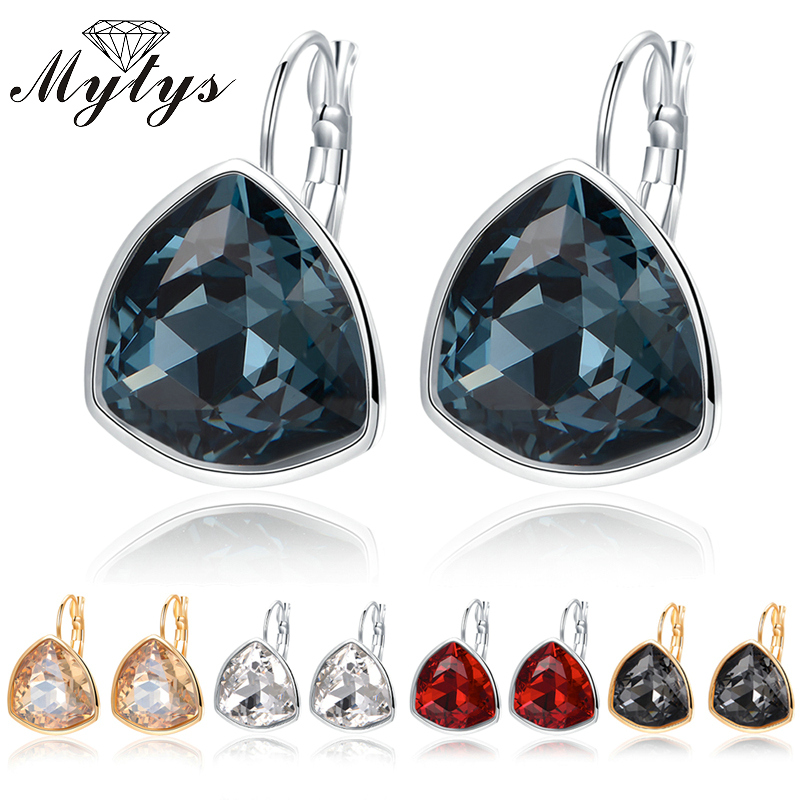 Mytys Geometric Round Triangle Crystal Earring Dangle Drop GP Earrings CE191 CE192 CE193 CE194 CE195 triangle round drop earrings