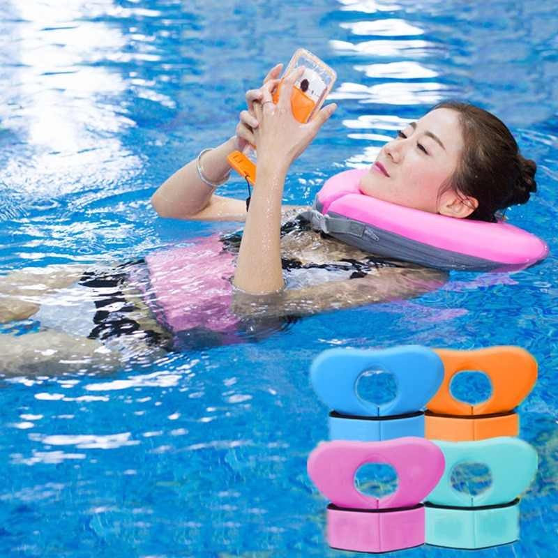EPE Swimming Neck Ring Swimming Float Collar Children Adult Safty Heart Shape Aid Circle Lap With Bubble Belt No Need Pump