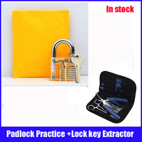 Hot sale padlock practice lock set with light blue Removal Extractor key lock broken locksmith tool Set