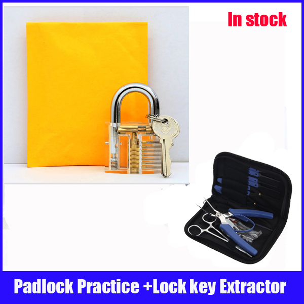 Hot sale padlock practice lock set with light blue Removal Extractor key lock broken locksmith tool Set hot sale practice lock set with professional broken key extractor set locksmith tool key removal hooks kit 5 pcs tension tools