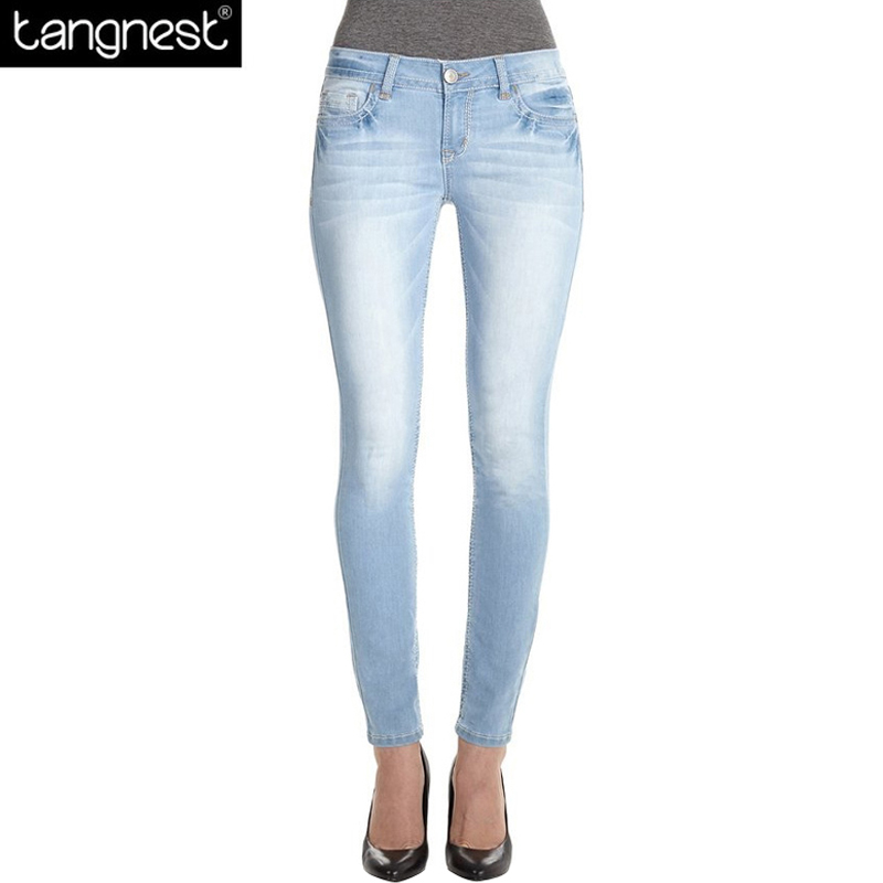 TANGNEST Fashion Bleached Elastic Skinny Jeans 2017 Woman Casual Light Blue Slim Trousers Ankle Length Denim Pencil Pants WKN472
