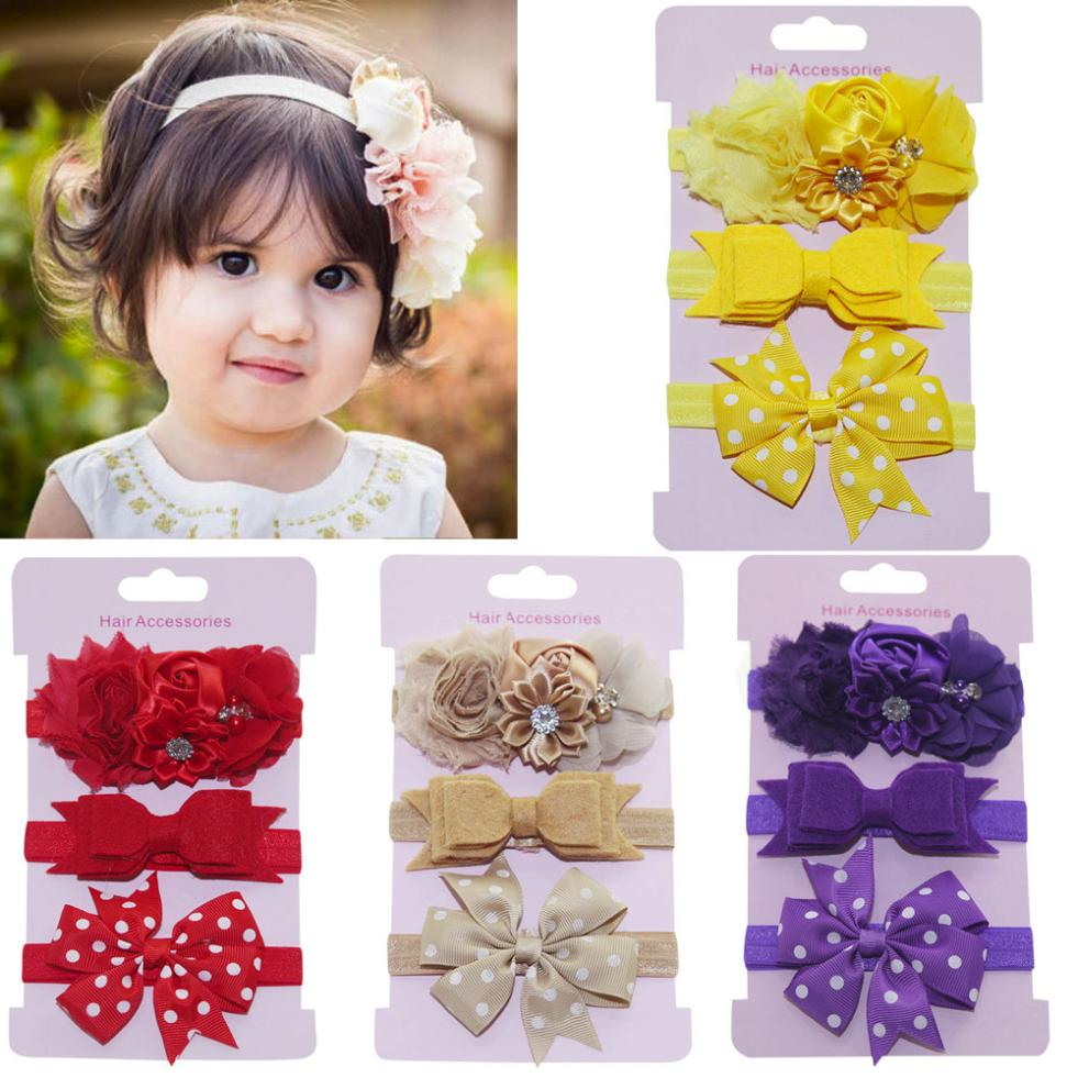 3Pcs Kid Flower Headband Hair Girl Baby Bowknot Accessories Hairband Set Gift US