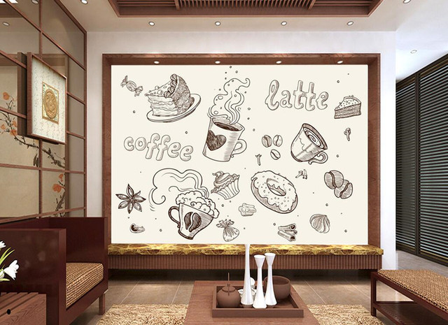 Buy custom large murals line drawing cafe for Mural coffee shop