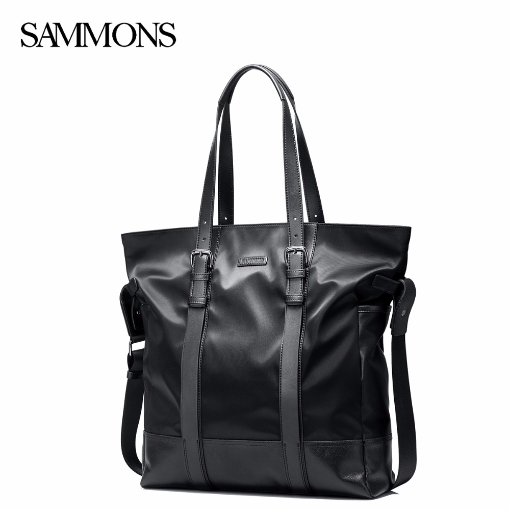 SAMMONS Men Waterproof Nylon Genuine Leather Handbag Male Leisure Shoulder Tote Purse Man Large Capacity Laptop Briefcase 190437 trendy letter heart round rhinestone bracelet for women
