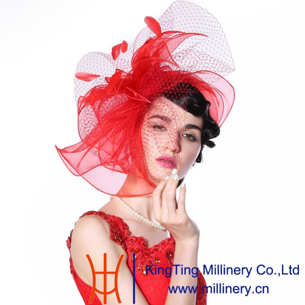 June's Young  Fashion Women Fascinator Hats Hot Red Color Feather Hair Accessories Wedding Wear Elegant Lady Bride Hot Sale 00009 red gold bride wedding hair tiaras ancient chinese empress hair piece