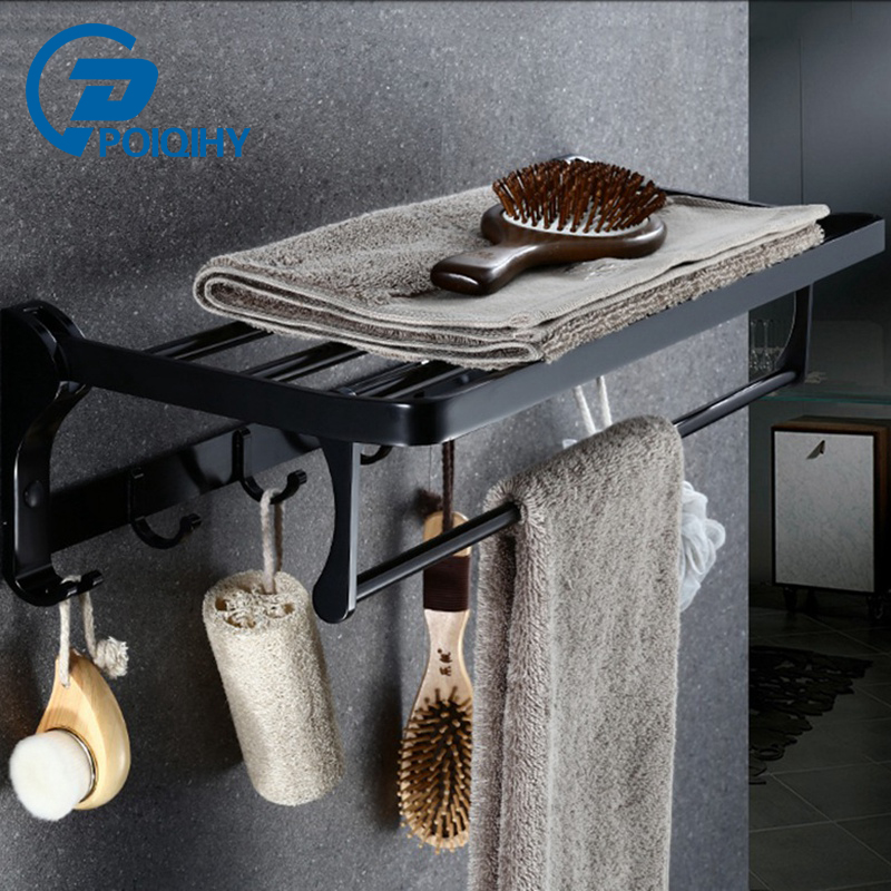 POIQIHY Black Painting Wall Mounted Type Single Tier Bathroom Shelf With Hooks Bath Accessories Tower Hanger 500pcs pack removable suction cup sucker wall window bathroom kitchen hanger hooks