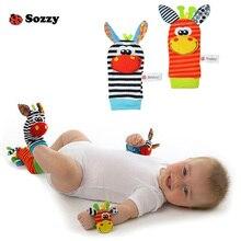סוזי בייבי צעצוע בייבי רעשנים צעצועים גרביים בעלי חיים קטיפה רצועת יד עם רולר רגליים גרביים בייבי #E