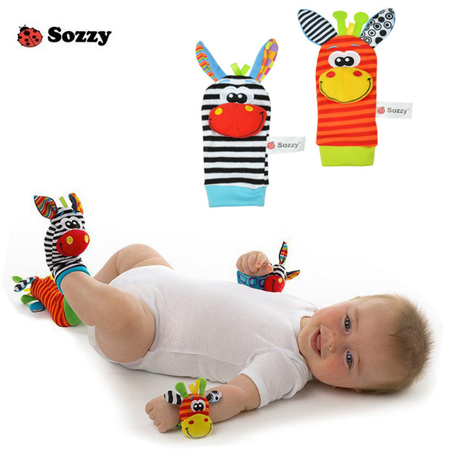 Sozzy Baby Toy Baby Rattles Toys Animal Socks Plush Wrist Strap With Rattle Baby Foot Socks #E