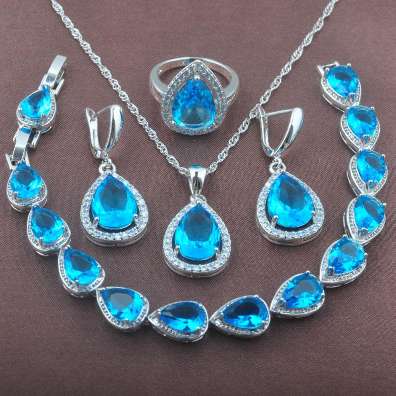 Women's Sky Blue Zirconia 925 Sterling Silver Jewelry Sets Necklace Pendant Earrings Rings Bracelet Free Shipping YZ0104