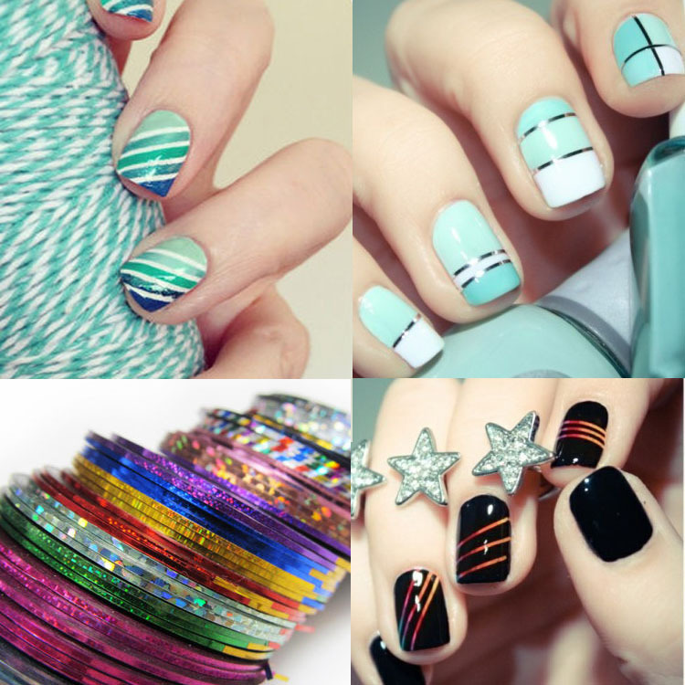 30pcs Mixed Colorful Beauty Rolls Striping Decals Foil Tips Tape