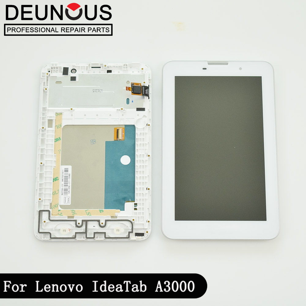 New 7 inch LCD display + touch screen digitizer Assembly with frame Replacement Parts for Lenovo IdeaTab A3000 A3000 H