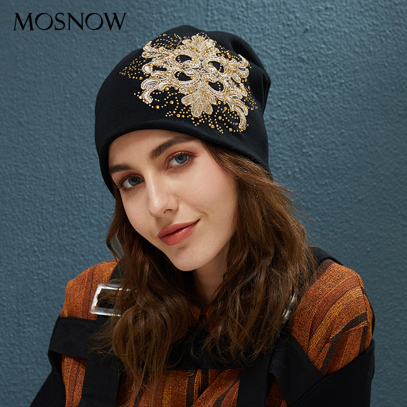 2019 Winter Beanie Ponytail Stretchy Hats Flowers With Rhinestone Caps Knitted Cotton For Women Warm Beanies Slouchy Skullies