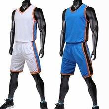 Men Cheap Pro Basketball Jerseys Youth Blue white Basketball Uniforms Kit  Set Shirt   Shorts Breathable 9ed42fbdd