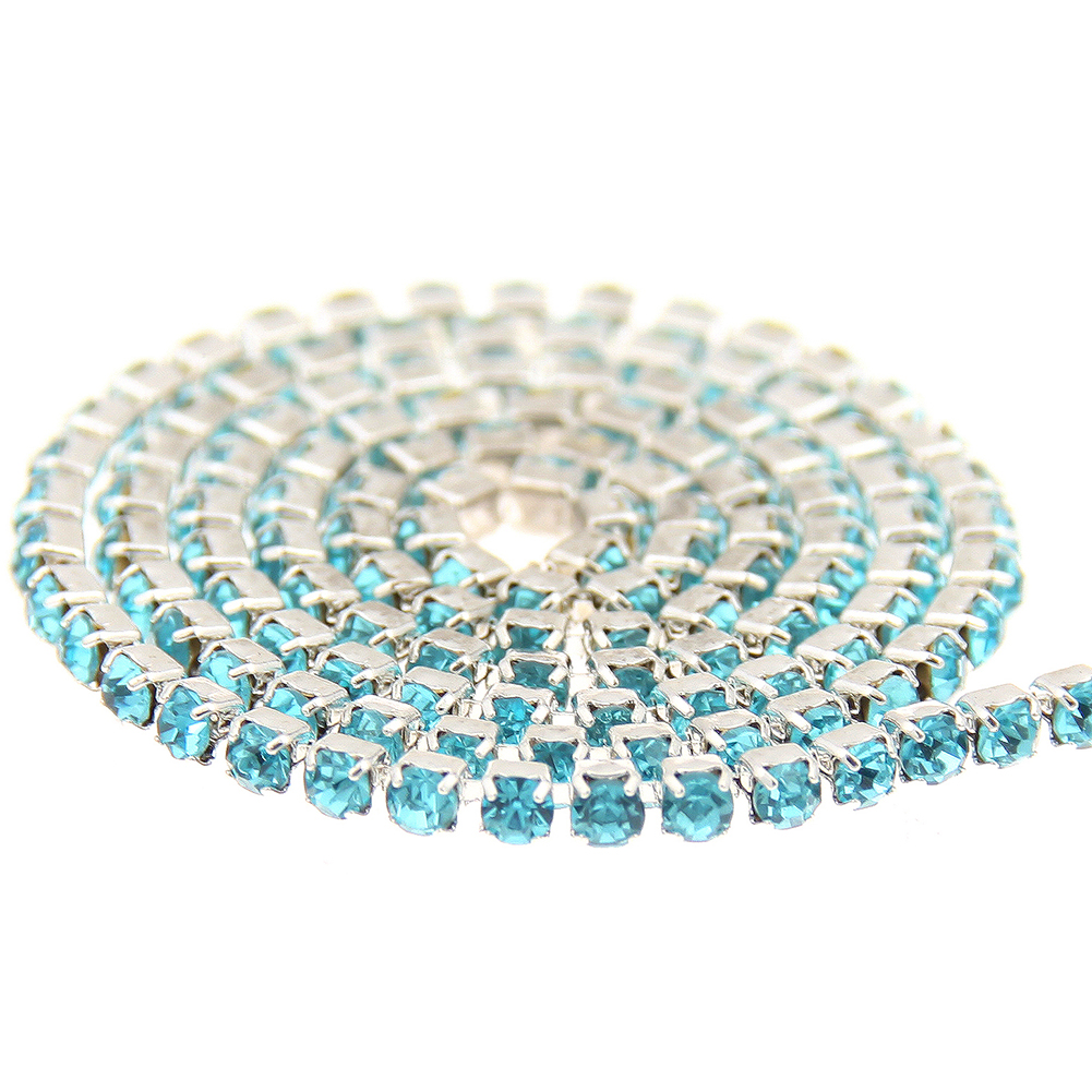 Sew On Non Hotfix Strass Glass Aquamarine Rhinestones Silver Base Cup Claw Chain For Backapck Wedding Dresses DIY Decorations
