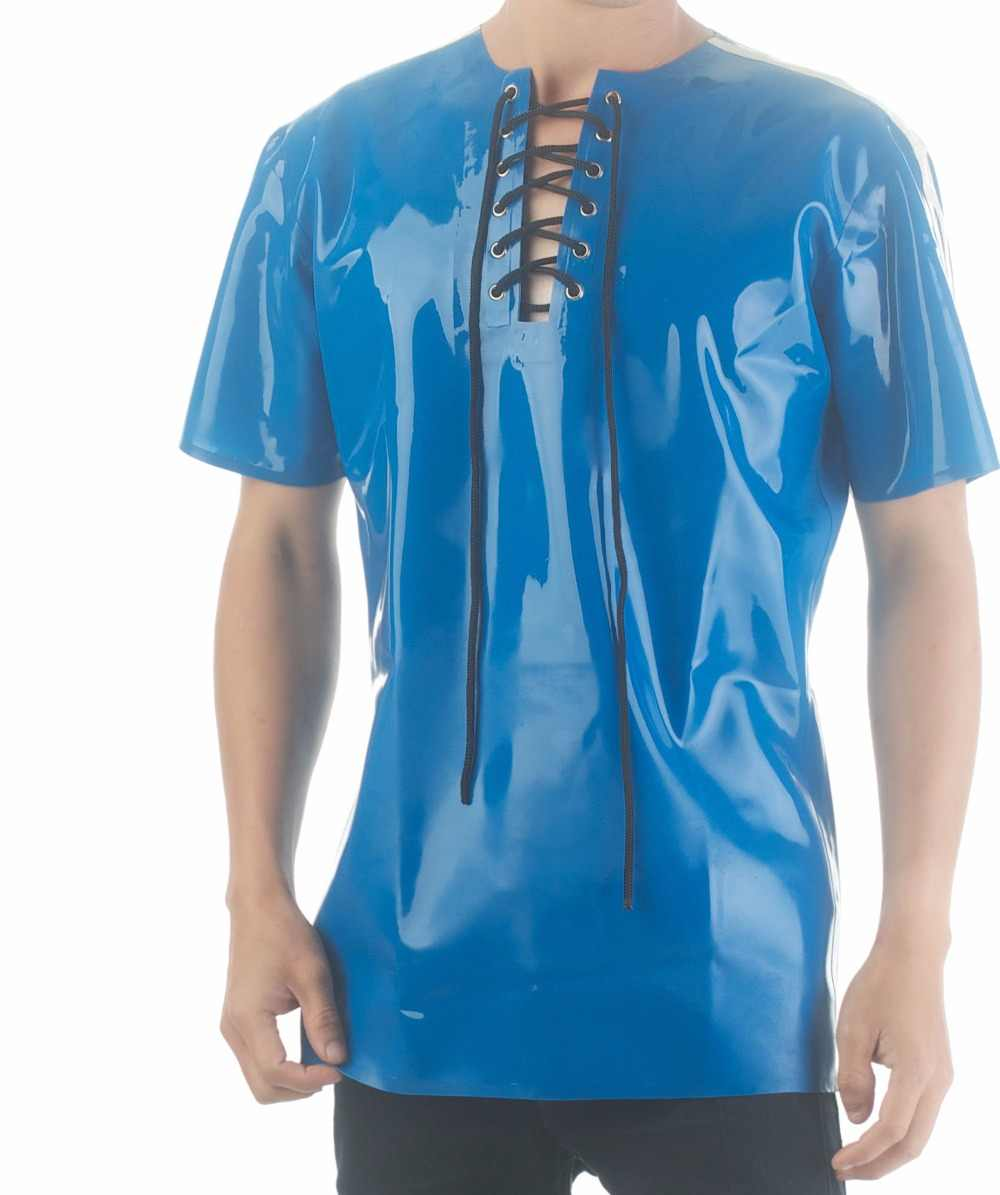 fc5fdea081 ... Latex Rubber Short Sleeves Blouse Mens Latex Shirt Lace Up Front Latex  Sexy Top Wears