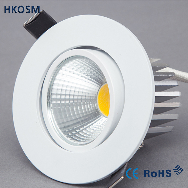 Bright Recessed LED Dimmable Round Downlight COB 6W 9W 12W LED Spot Light Decoration Ceiling Lamp AC 110V 220V White Body