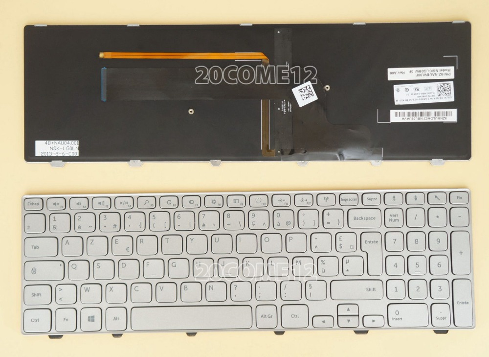 New notebook Laptop keyboard for   DELL Inspiron 7537  Silver Backlit French Layout new notebook laptop keyboard for dell inspiron mini 1012 1018 08000y french layout