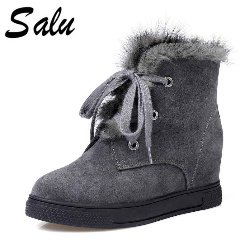 Salu Women Boots Wool Fur Round Toe Short Boots Black Lace-Up Thick Heels Shoes Winter Warm Plush Ankle Boots