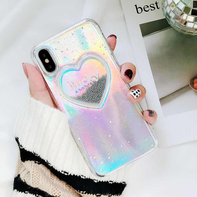 68f542841 JAMULAR Laser 3d Heart Lucky Glitter Soft Phone Case For iPhone 6s 6 8 X 7