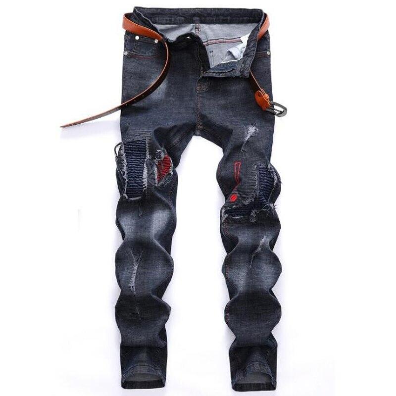 Moške kavbojke Visokokakovostne luknje Casual raztrgane kavbojke - Moška oblačila - Fotografija 4