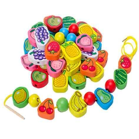 26 pièces/ensemble en bois animaux fruits bloc cordage perles jouets pour enfants apprentissage et éducation produits colorés enfants jouet 2.5cm WYQ