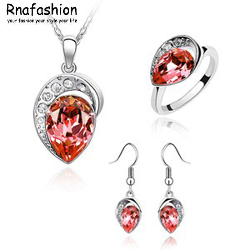 RNAFASHION Jewelry NO MINIMUM ORDER Korean fashion jewelry set Austrian crystal earrings necklace ring three-piece My Heart 049