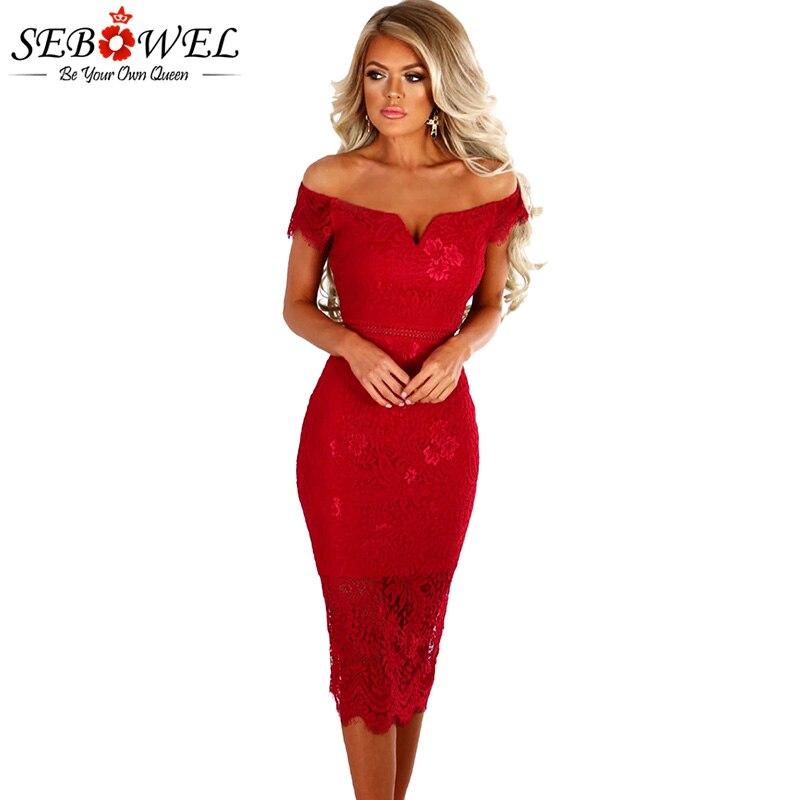 SEBOWEL 2018 Sexy Red Lace Bardot Party Midi <font><b>Dress</b></font> <font><b>Women</b></font> Short Sleeves Off Shoulder Bodycon <font><b>Dresses</b></font> Ladies Slash neck Club wear
