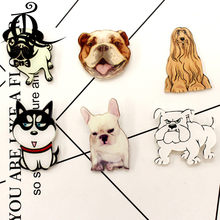 free shipping 1PCS cartoon brooch mix dog Icons On backpack Acrylic Badges Cartoon Pin Badges For Clothes Decoration Badge 22(China)