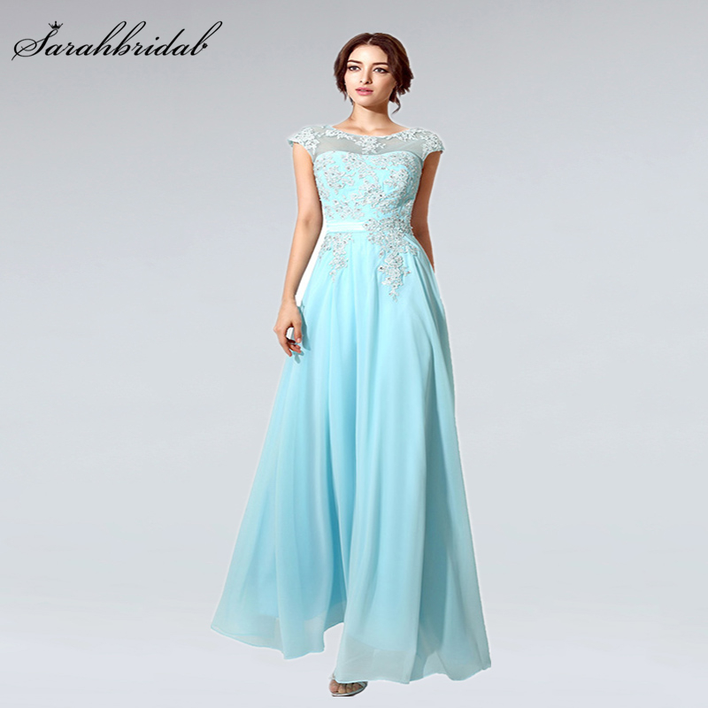 In Stock Fashion Beading Appliques Long   Prom     Dresses   With Elegant Chiffon Party   Dresses   Gowns Vestido De Festa Longo SD181