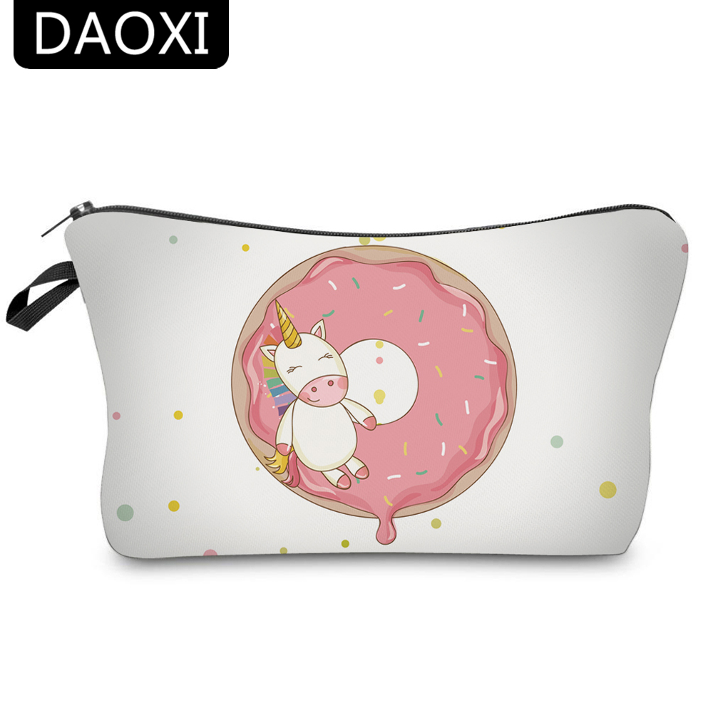 цена на DAOXI 3D Printed Cosmetic Bags Unicorn and Donuts Cute Gift for Women Necessaries for Travel Storage Makeup 10060