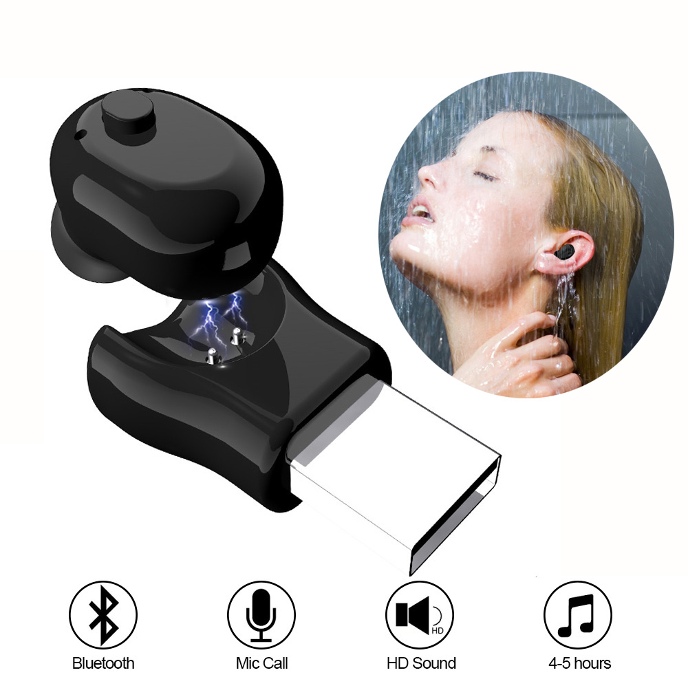 Waterproof Mini Earphone Wireless Bluetooth Headset Earbuds Hidden Invisible Earpiece Micro Usb Earphone Wireless Sport headset