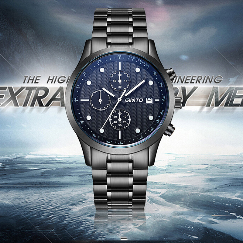 GIMTO Brand Luxury Men Stainless Steel Watch Quartz Wristwatches 2017 Waterproof Watches Black Metal Male Clock Reloj Hombre New купить